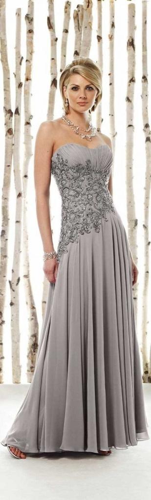robe  grise longue bustier pas cher