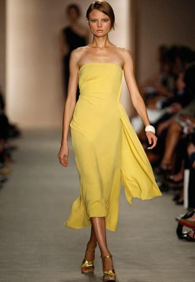 robe jaune mi longue bustier defile 2015