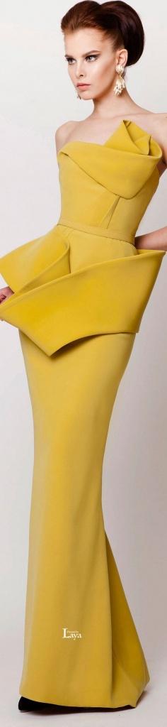 robe jaune moutarde longue bustier graphique et structuree