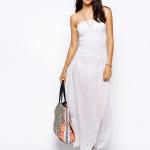 robe longue blanche coton dentelle bustier