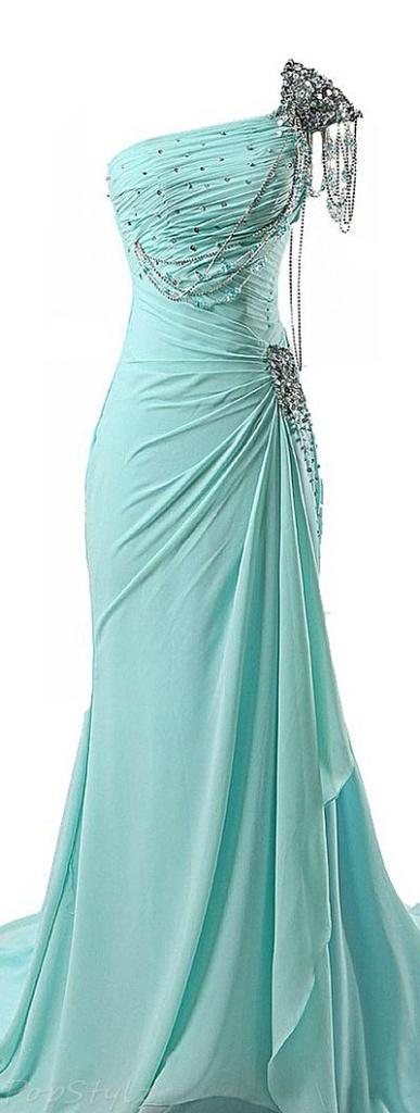 robe longue bleu pale bustier asymetrique