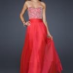 robe longue bustier argent et jupe fluide rouge pour ceremonie