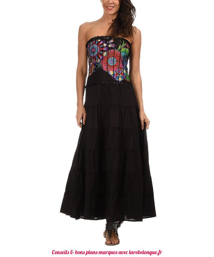 robe longue bustier coton noir gipsy