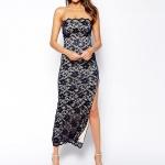 robe longue bustier dentelle asymetrique