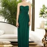 robe longue bustier droite vert emeraude cocktail