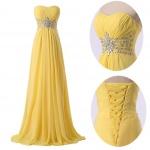 robe longue bustier effet corset a nouer jaune pale