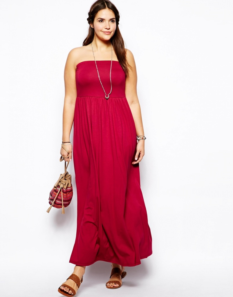 robe longue bustier elastique grande taille fushia
