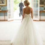 robe longue bustier et dos nu blanche pour mariee