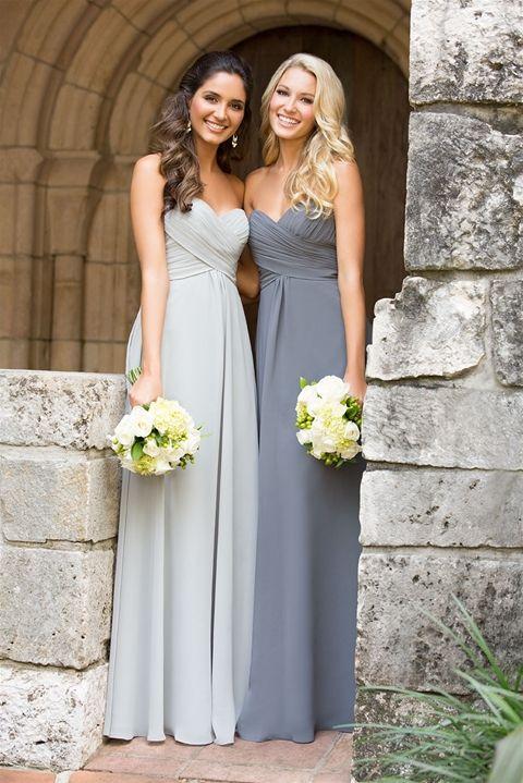 robe longue bustier grise et gris clair pour demoiselles d honneur