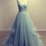 robe longue bustier mousseline bleu pale