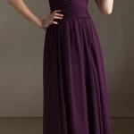 robe longue bustier mousseline fluide violette