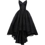 robe longue bustier noire asymetrique avec volants et dentelle