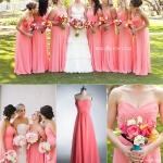 robe longue bustier pour mariage mariee et ses demoiselles d honneur blanche et rose