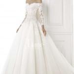 robe longue bustier pour mariee dentelle manche longue et grande jupe