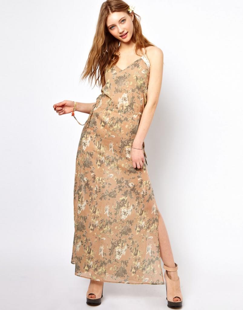 robe longue coton a bretelle habille imprime beige et vert floral