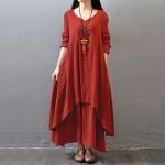 robe longue coton avec manche longue rouge et superposition