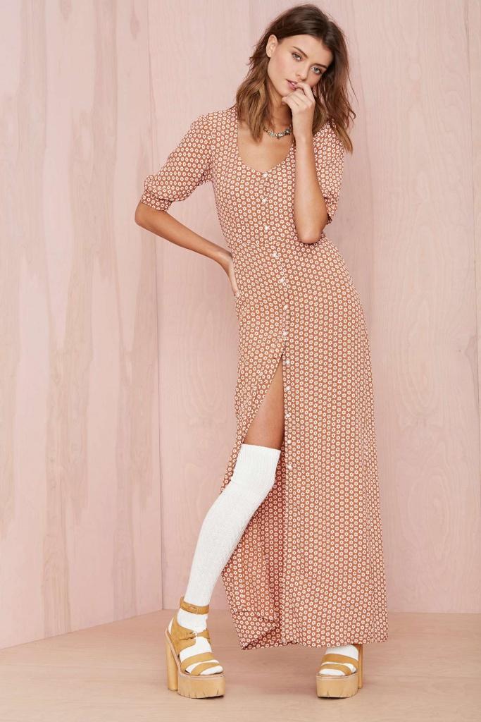 robe longue coton avec manche mi longue a petits pois
