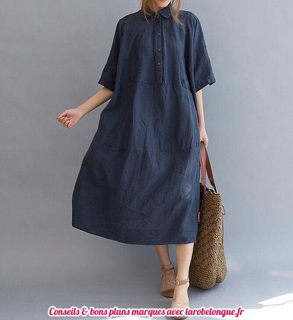 robe longue coton bio manche mi longue bleu marine