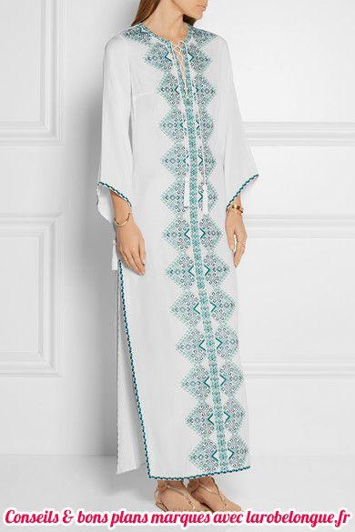 robe longue coton blanc esprit oriental avec fresque bleue au centre