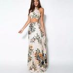 robe longue coton blanc imprime fleur ventre nu