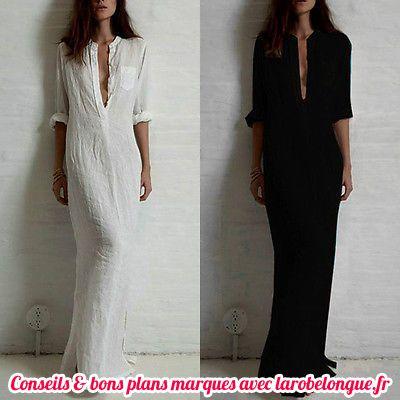 robe longue coton blanc tres echancree manche longue ete