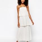 robe longue coton blanche a volant sans manche