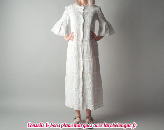 robe longue coton blanche manche mi longue volantee createur originale