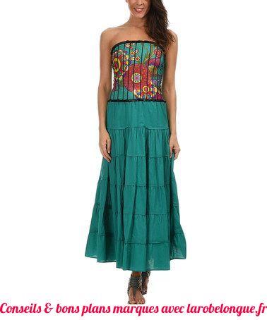 robe longue coton bustier bleu