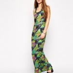 robe longue coton debardeur ete imprime vert
