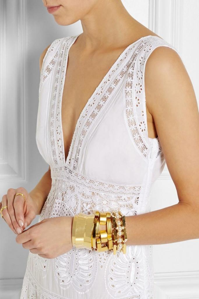 robe longue coton dentelle blanche tres decollete