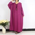 robe longue coton droite maxi manche longue
