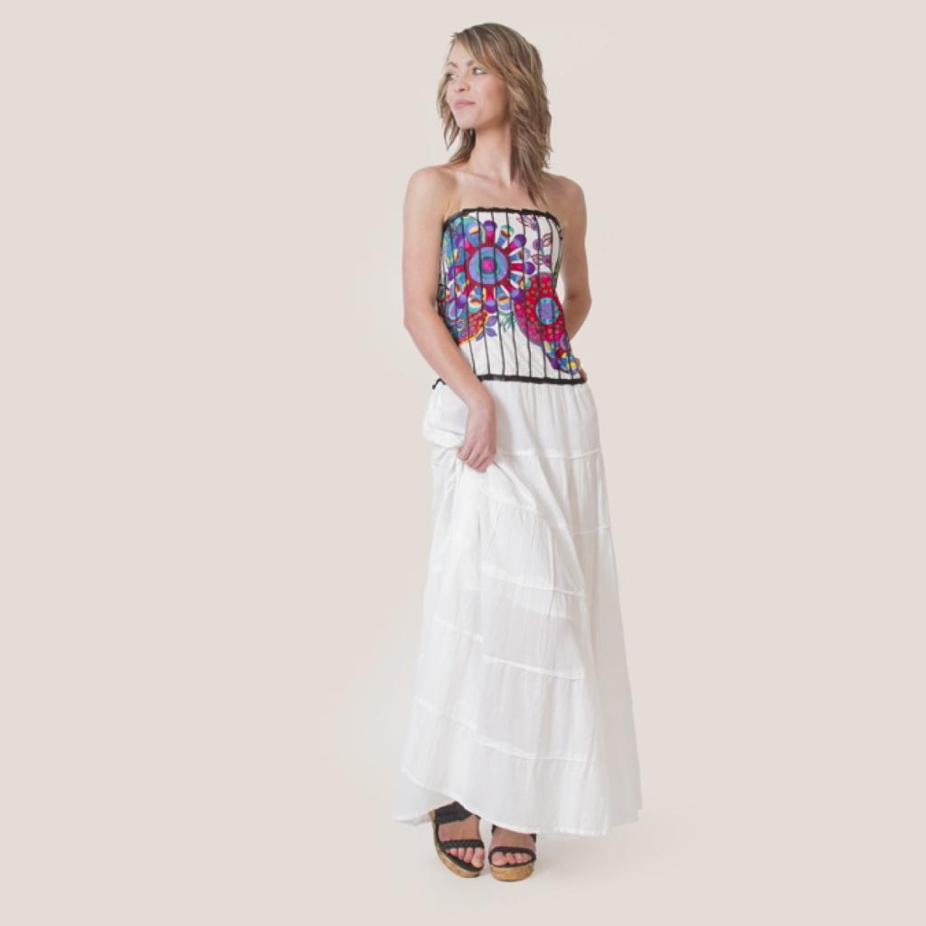 robe longue coton du monde blanche et bustier colore