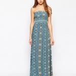 robe longue coton ete bustier bleu et bel imprime gipsy