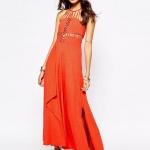 robe longue coton ete cocktail ou mariage fendue orange esprit ethnique