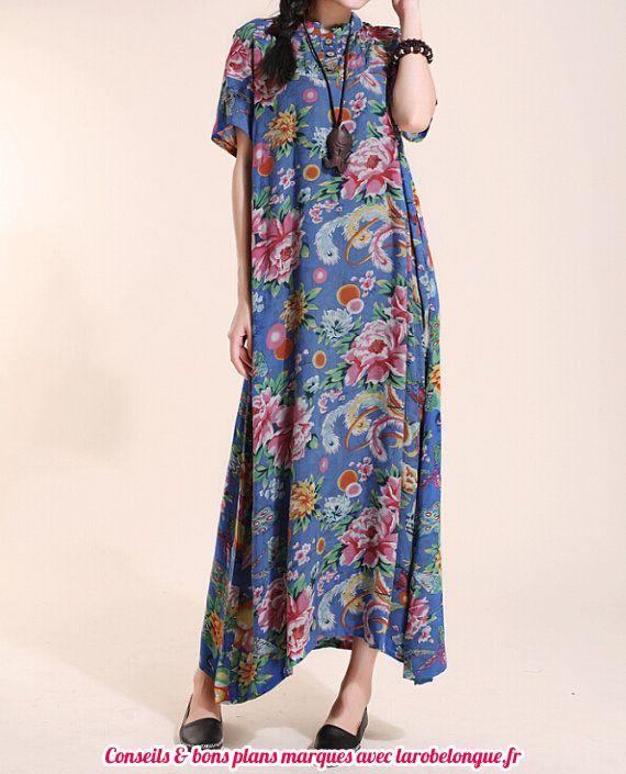 robe longue coton ete motif fleur fond bleu