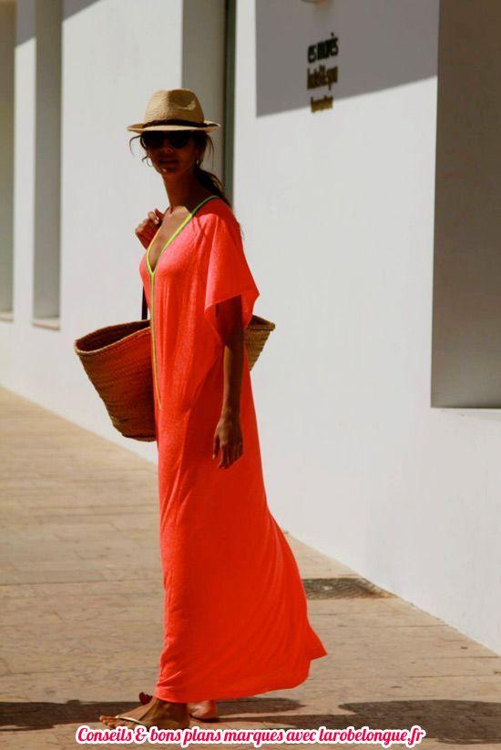 robe longue coton ete plage orange manche courte