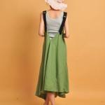robe longue coton ete verte originale avec bretelles noires