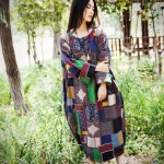 robe longue coton femme large fluide patchwork