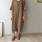 robe longue coton femme marron tres fluide