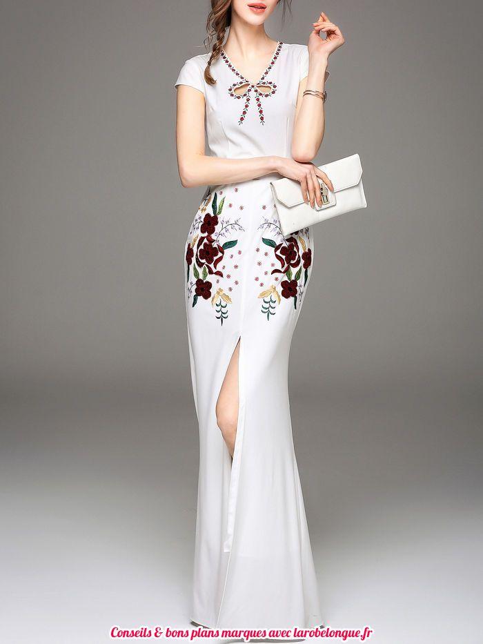 robe longue coton fendue centre devant