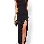 robe longue coton fendue devant sur une cuisse sans manche