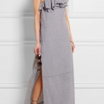 robe longue coton fendue grise volant asymetrique