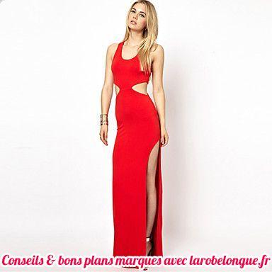 robe longue coton fendue haut moulante rouge sans manche