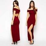 robe longue coton fendue rouge bordeaux moulante