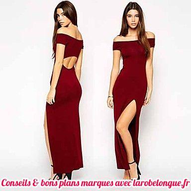 grande remise énorme réduction qualité incroyable robe longue coton fendue rouge bordeaux moulante - la robe ...