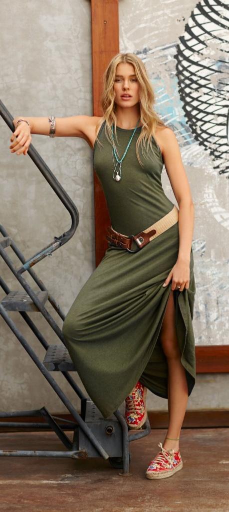 robe longue coton fendue sans manche kaki