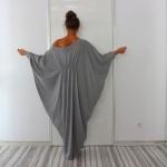 robe longue coton grise manche chauve souris
