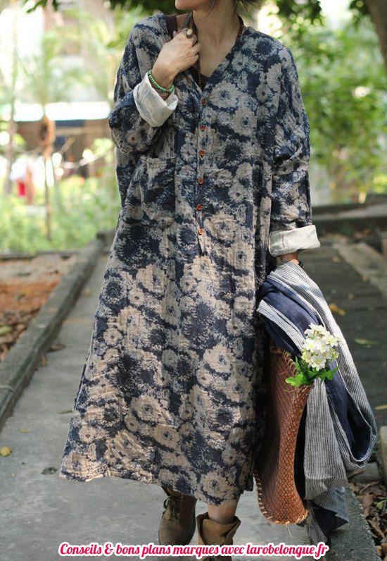 robe longue coton hippie tres fluide