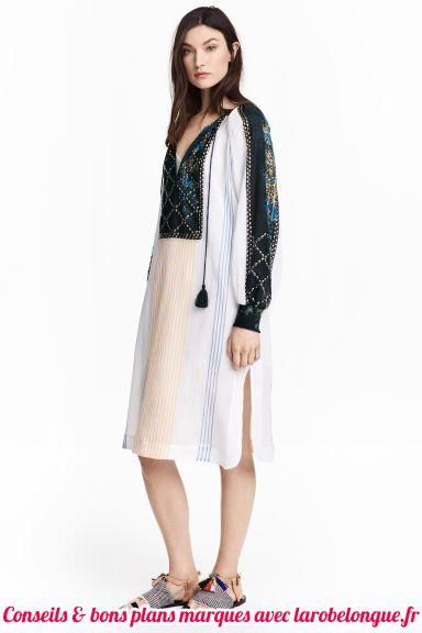 robe longue coton hm bi matiere blanc noir et creme