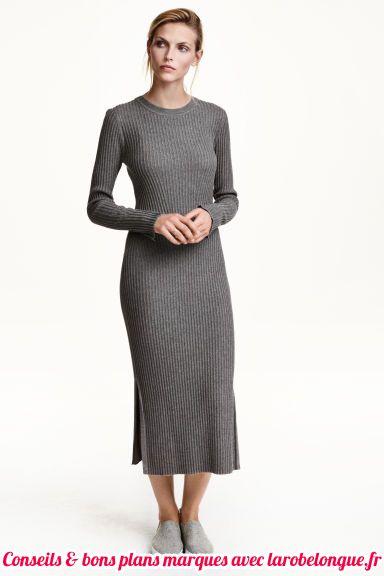 robe longue coton hm hiver manche longue